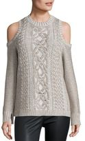 BCBGMAXAZRIA Arlene Metallic Cold-Shoulder Sweater