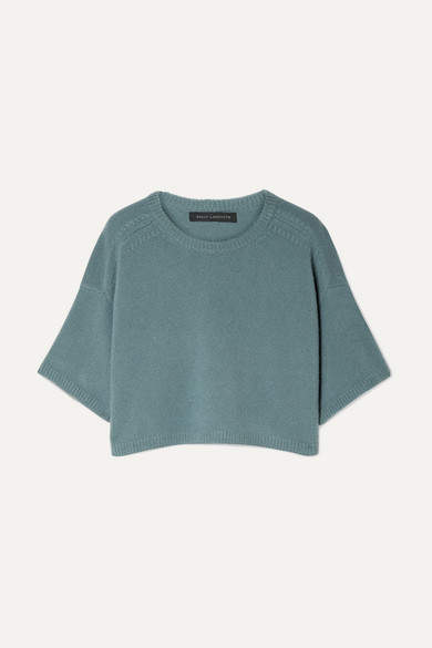 Sally LaPointe Cropped Cashmere And Silk-blend Sweater - Gray green