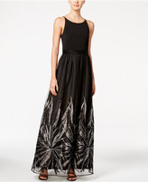 Calvin Klein Metallic Floral-Trim Gown