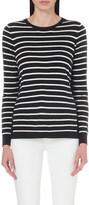 The White Company Side split striped cotton-blend jumper