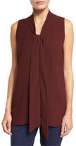 Lafayette 148 New York Dana Sleeveless Tie-Front Silk Blouse