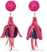 Mercedes Salazar Tropicalia Beaded Straw Clip Earrings - Pink