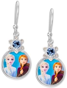 Disney Children's Crystal Frozen Anna & Elsa Portrait Drop Earrings in Sterling Silver