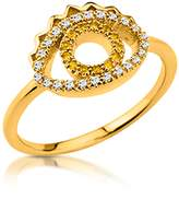 Kenzo Goldtone Mini Eye Ring w/Crystals