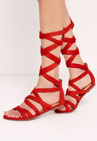 Missguided Cross Strap Wrap Around Flat Sandals Red