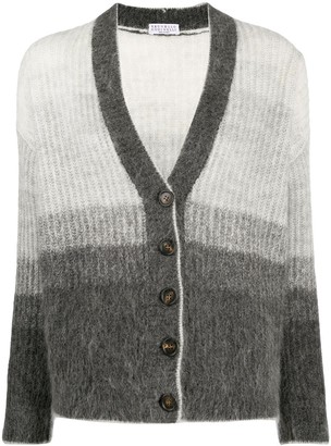 Brunello Cucinelli Gradient-Effect Button-Down Cardigan