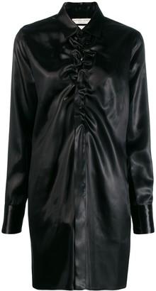 Bottega Veneta Ruched-Front Long Satin Shirt