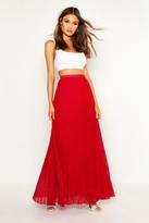 boohoo Mia Chiffon Pleated Maxi Skirt berry