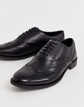 ASOS DESIGN brogue shoes in black leather