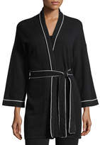 Neiman Marcus Cashmere Tipped Tie-Front Bed Jacket/Robe