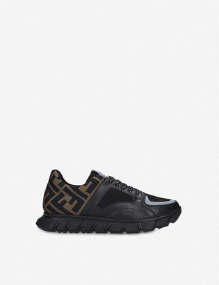 Fendi Pump logo-embellished leather and woven trainers 6 months - 12 years