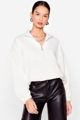 Nasty Gal Womens Are You Teddy to Go Oversized Zip Sweatshirt - Cream