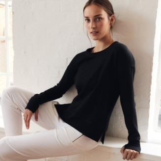 The White Company Side Split Crew-Neck Sweater, Black, Extra Small
