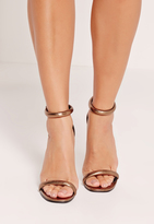 Missguided Rounded Strap Barely There Sandals Metallic Bronze