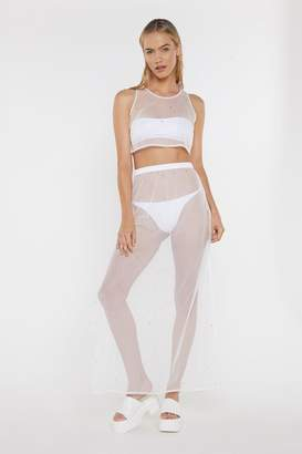 Nasty Gal Womens Wishing on a Star Studded Sheer Crop Top and Maxi Skirt Set - white - 8