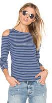 LnA Ashley Jane Cold Shoulder Stripe Top in Blue