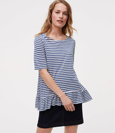 LOFT Striped Peplum Tee