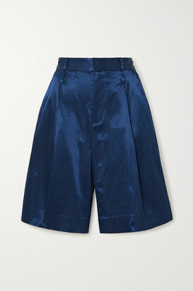 STAUD Noat Cotton-blend Sateen Shorts - Navy