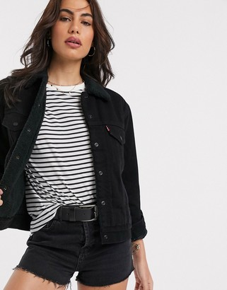 Levi's Forever ex-boyfriend sherpa denim trucker jacket in black