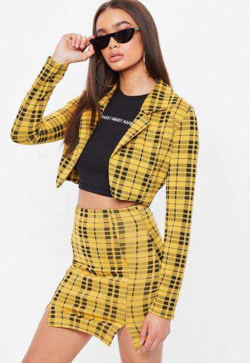 Missguided Yellow Plaid Cropped Blazer