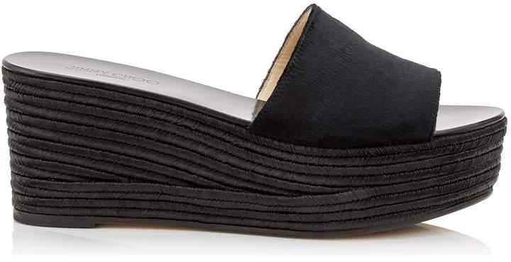 Jimmy Choo DEEDEE 80 Black Liquid Velvet Sandal Wedges with Black Jute Wedge