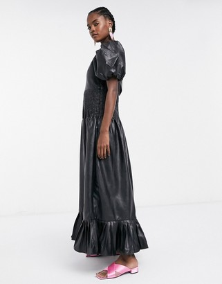 GHOSPELL maxi dress with shirred waist in faux leather