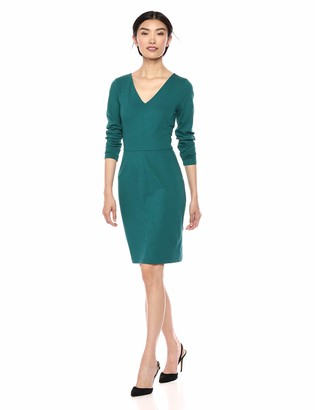 Lark & Ro Women's Long Sleeve V-Neck Paneled Waist Sheath Dress