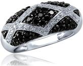 Ice 1 CT TW Round Black and White Diamond Sterling Silver Geometrical Ring by JewelonFire