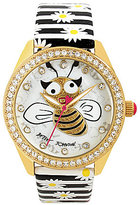 Betsey Johnson Bumblebee Analog Striped Floral Leather-Strap Watch