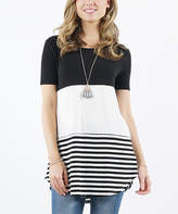 Lydiane Women's Tunics BLACK - Black Stripe Color Block Short-Sleeve Curved-Hem Tunic - Women
