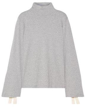 Clu Bow-embellished Cotton-blend Jersey Turtleneck Top