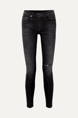 R 13 Alison Distressed Snake-print Low-rise Skinny Jeans - Black