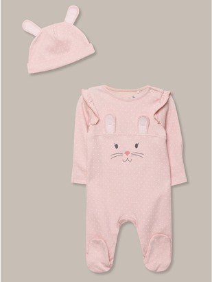 M&Co Bunny romper and hat set (newborn-18mths)