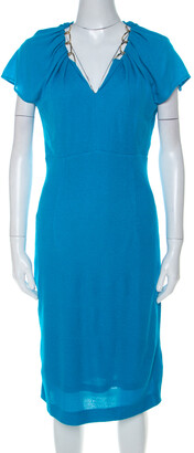 Escada Lagoon Blue Textured Knit Gold Chain Detail Sheath Dress M
