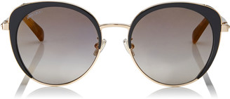 Jimmy Choo GABBY Black and Gold Cat Eye Framed Sunglasses with Crystal Spoilers