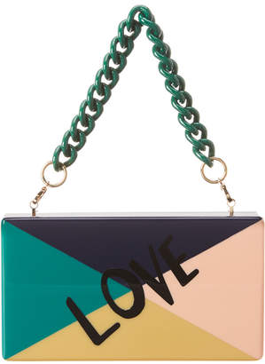 Edie Parker Jean Colorblocked Love Acrylic Clutch