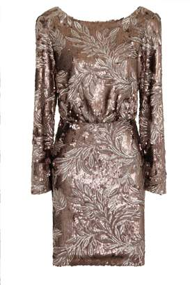 Gunmetal Heavily Embellished Drape Back Dress