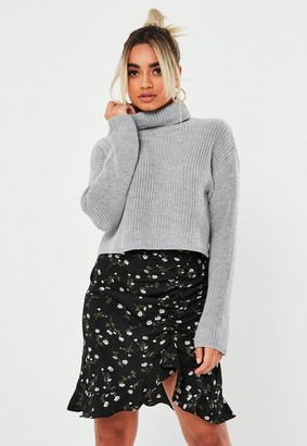 Missguided Petite Gray Turtle Neck Cropped Knit Sweater
