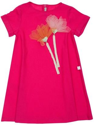 Il Gufo Cotton Dress W/ Flower Appliques