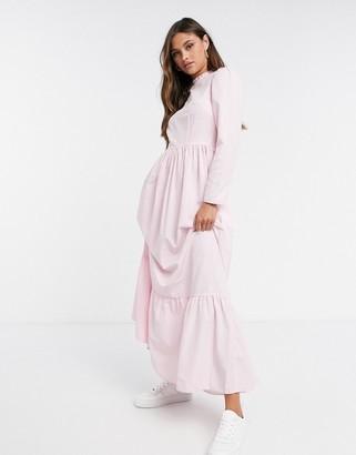 ASOS DESIGN cotton poplin tiered maxi dress in light pink