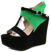 Andrea Bernes 377 Open Toe Suede Wedge Heel.