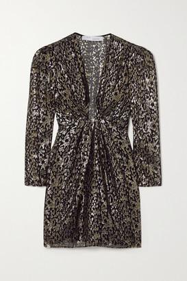 IRO Ribunea Ruched Metallic Fil Coupe Silk-blend Mini Dress - Black