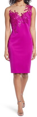 Tadashi Shoji Sequin Detail Illusion Lace Cocktail Sheath Dress