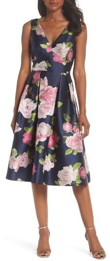 Eliza J Sleeveless Floral Print Fit & Flare Dress
