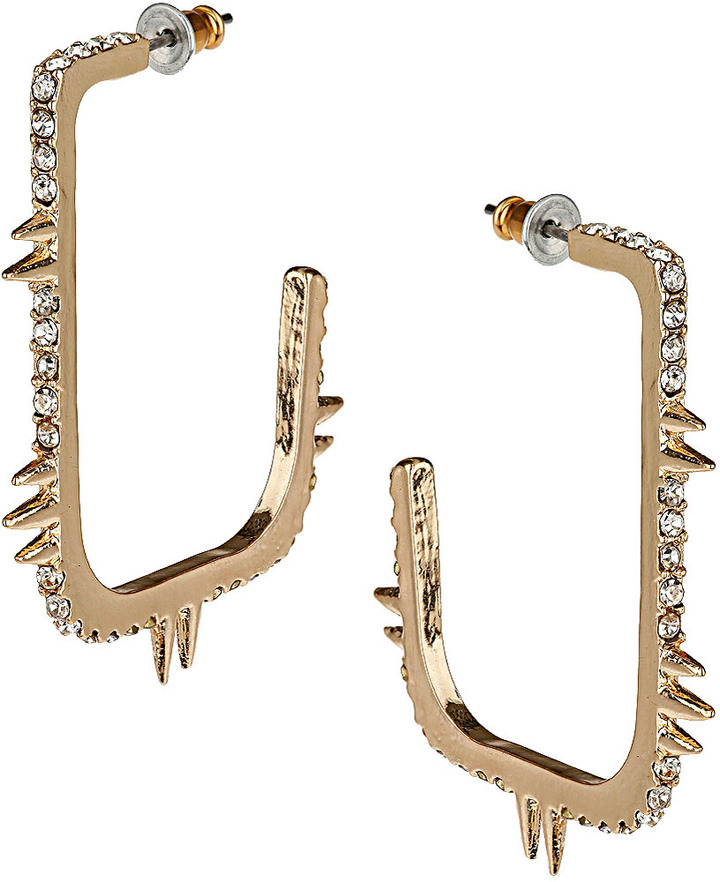 Topshop Stone Spike Square Hoop Earrings