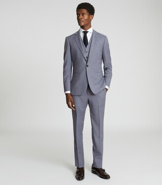 Reiss Climate - Wool Modern Fit Waistcoat in Airforce Blue