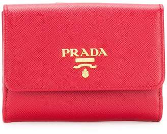 Prada logo plaque flap wallet