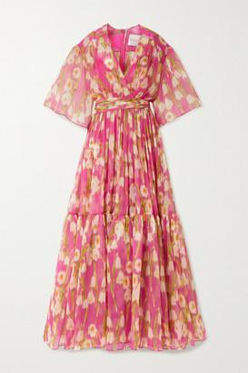 Carolina Herrera Tiered Floral-print Silk-crepon Maxi Dress - Pink