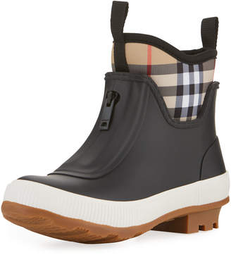 Burberry Flinton Short Rubber Rain Boots w/ Check Detail, Toddler/Kids