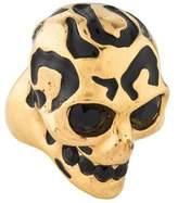 Alexander McQueen Crystal & Enamel Skull Ring